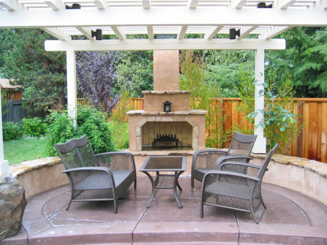 Stucco Stone Fireplace